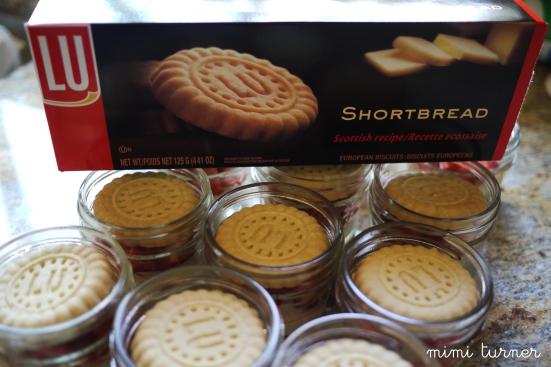 LU shortbread cookies in dessert jar